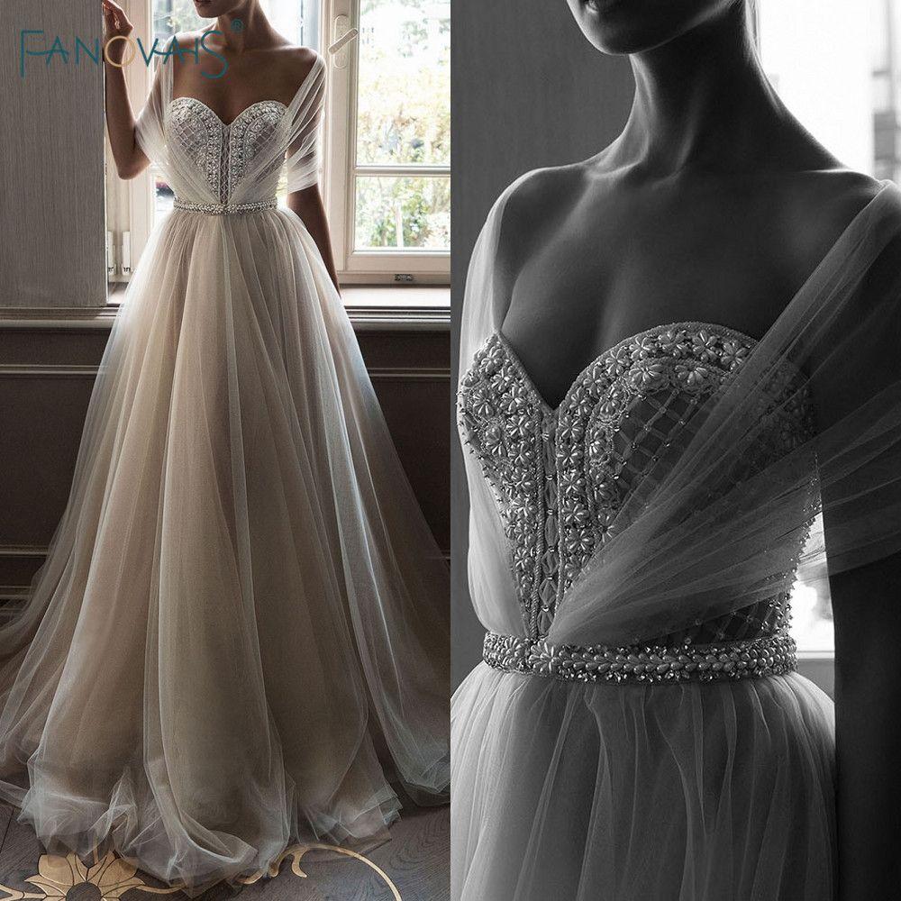 Elegante Hochzeit Kleider 2019 Weg Von der Schulter Champagne Brautkleid 2019 Kristall Perlen Top Tulle Vetsido de Novia WN10