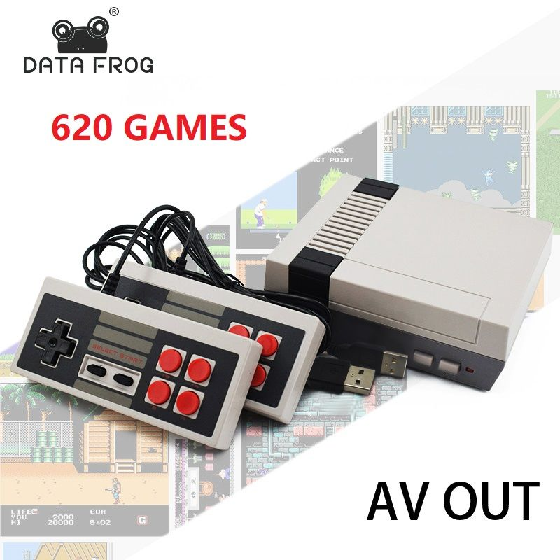 Data Frog Retro Video Game Console AV Output TV Consoles Built-in 620 Classic Games Dual Gamepad Gaming Player