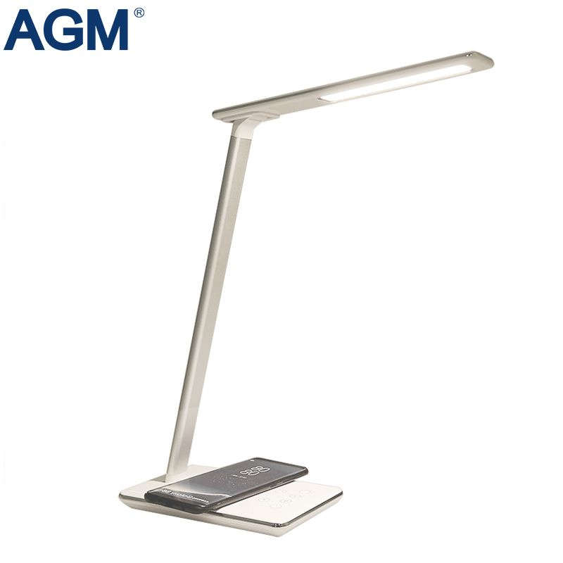 AGM Folding LED Desk Lamp 5V 2.5A Eye Protection 7 Level Dimmable Table Lamp With Qi Wireless Charger Modern Desktop Night Light
