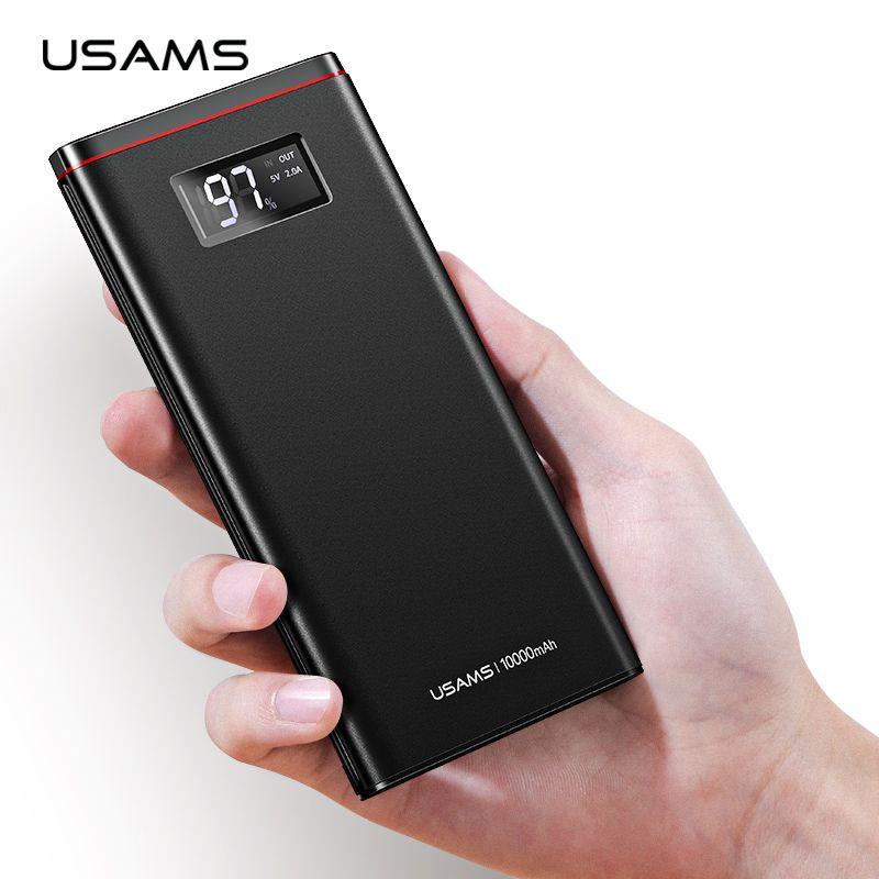 Chargeur rapide batterie externe PD QC 3.0 18 W affichage LED numérique 10000 mah powerbank USAMS 9 V/2A 5 V/3A batterie externe USB C