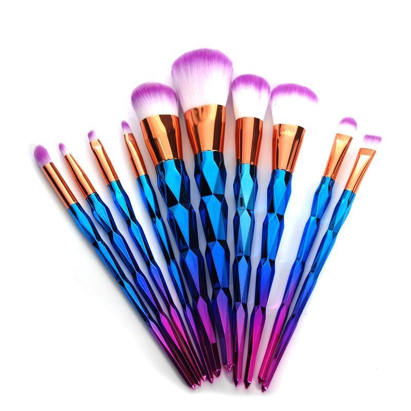 10 pcs Dimond Rose D'or Maquillage Brush Set Fard À Paupières Poudre Fondation Yeux Sha Crème Cosmétique Blush Makup Brush Set Haute qualité