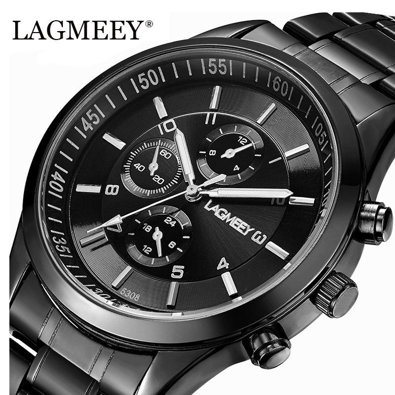 LAGMEEY marque noir métal hommes montre étanche en acier inoxydable montre militaire Quartz montre-bracelet pour hommes horloge armée Relogio nouveau