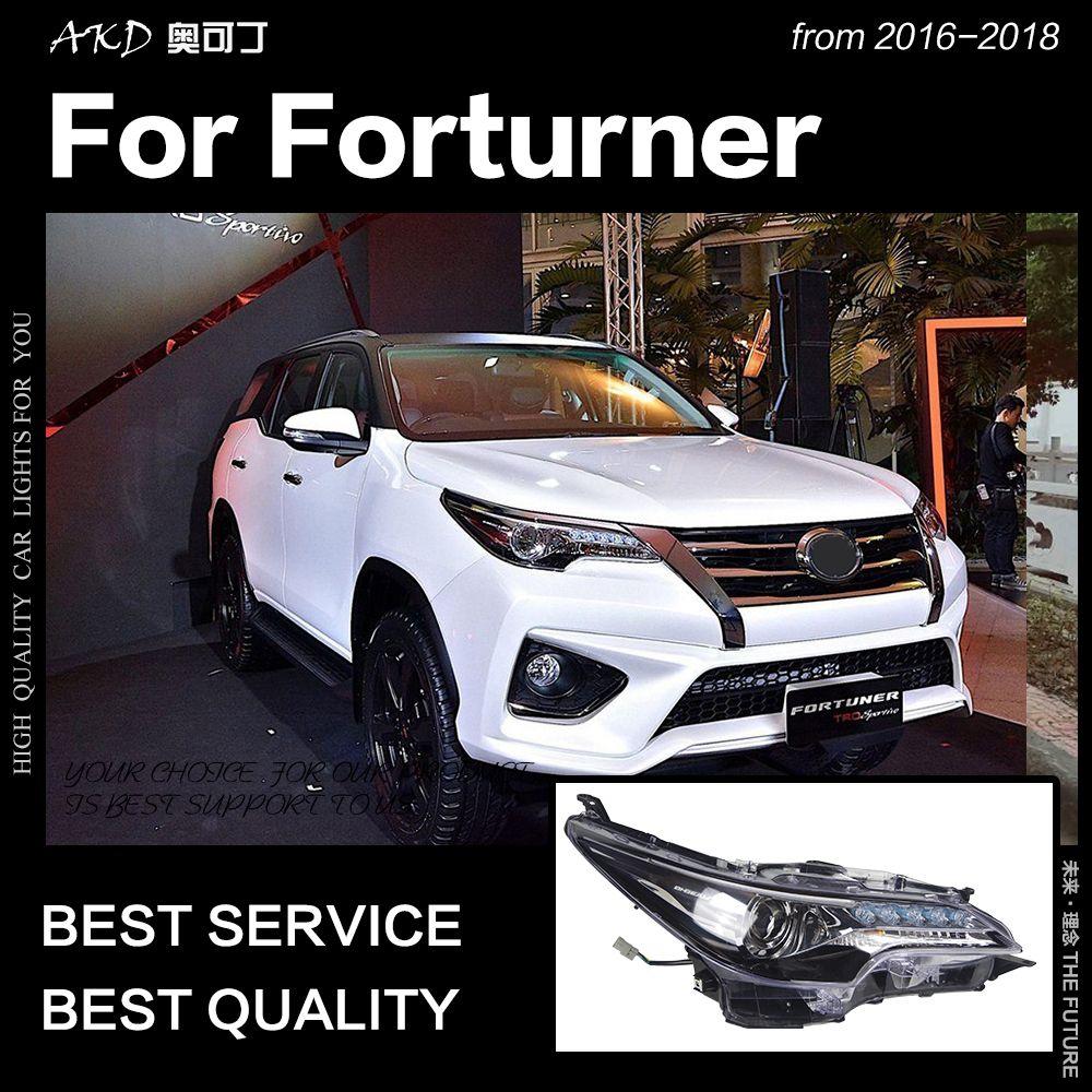 AKD Auto Styling für Toyota Fortuner Scheinwerfer 2016-2018 Alle LED Scheinwerfer LED DRL Kopf Lampe Engel Auge Bi xenon Zubehör