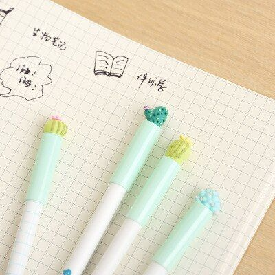 0.5mm Novelty Cute 3D Mini Green Cactus Cacti Succulent Plants Gel Ink Pen Kawaii Escolar Papelaria School Office Supply