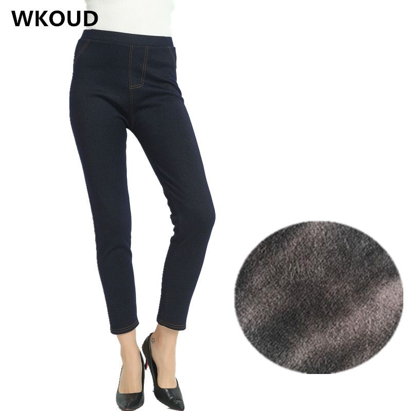WKOUD 2017 Women Winter Pants Thickening Warm Fleeces Pencil Pants Female Hot Leggings Plus Size Trousers Snow Bootcuts P8098