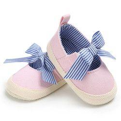 Elegante verano niño Zapatos de bebé recién nacido Niñas suave suela casual algodón princesa rayas Patucos prewalker un pares