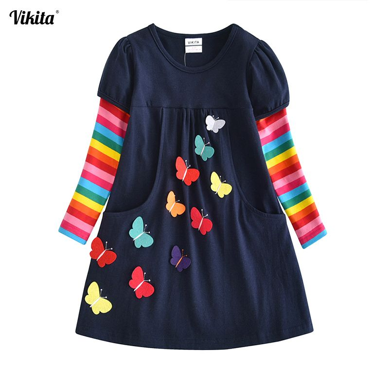 VIKITA Kids Girls Dress Baby Children Toddler Princess Dress Vestidos Children's Clothing Girls Winter Dresses 2-8Y LH5805 MIX