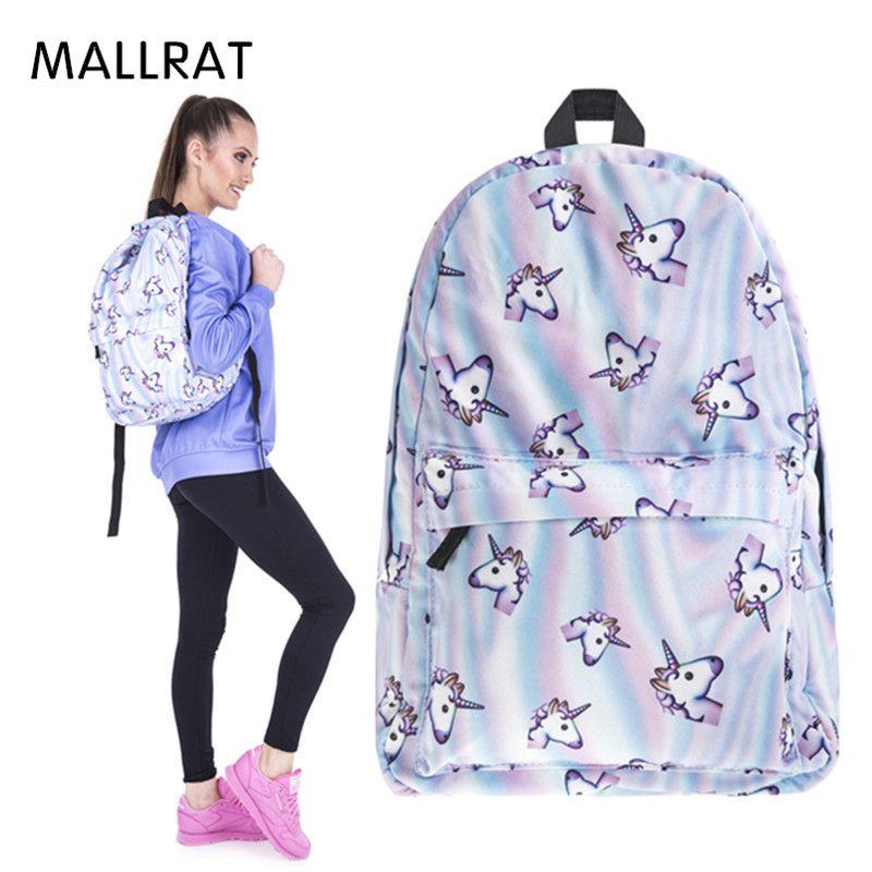 MALLRAT Women Unicorn Backpack 3D Printing Travel Softback Bag Mochila School Cat Backpack Notebook For Girls Backpacks
