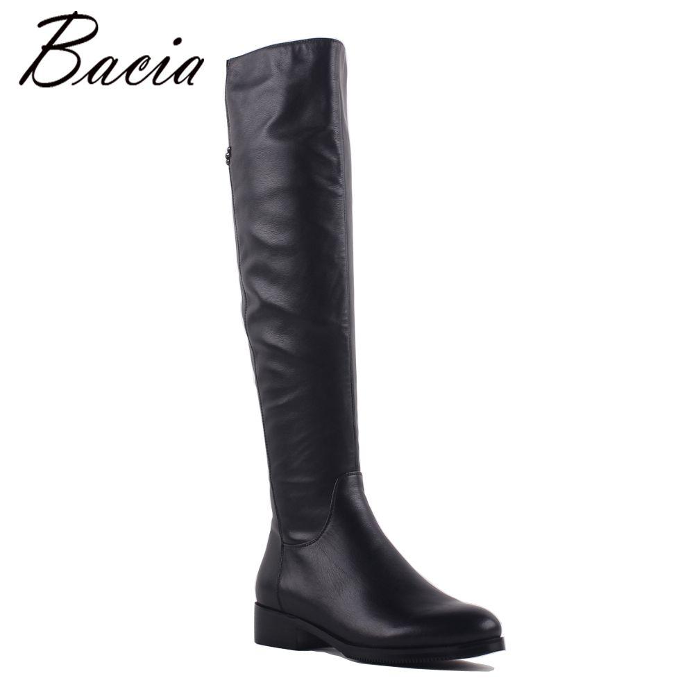 Bacia Fashion Genuine Full Grain Leather Med Heels Shoes Round Toe Heel 3.5cm Warm Winter Wool Fur & Short Plush Boots SA073