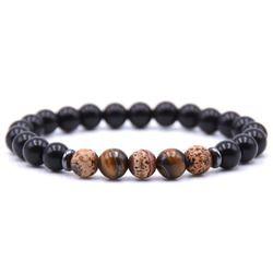 Kangkang Pesona 8 Mm Cerah Hitam Alami Stone Manik Gelang untuk Pria & Wanita 18 Gaya Gelang Perhiasan Klasik Elegan pulseras