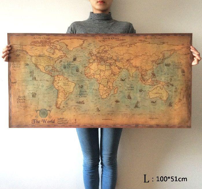 Elegir tamaño: El viejo Mundo Mapa de navegación enorme gran Estilo Vintage Paper Retro Poster Inicio decoración de la pared
