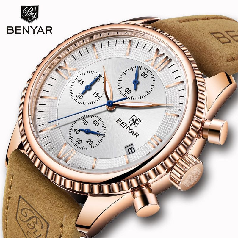 BENYAR Men's Watches Fashion Sports Quartz Gold Watch Men Clock 2019 Mens watches Top Brand Luxury Waterproof Relogio Masculino