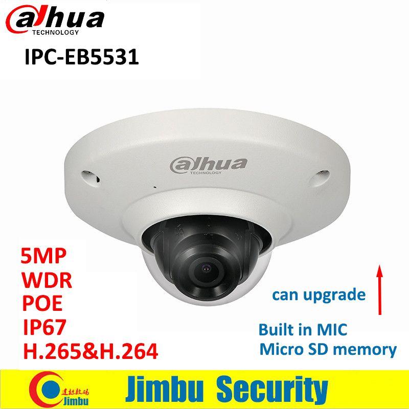 Dahua Fisheye IP Camera IPC-EB5531 5MP PoE Panoramic Network H.265 1.4mm lens IVS Built-in Mic Micro SD card IP67 CCTV Camera