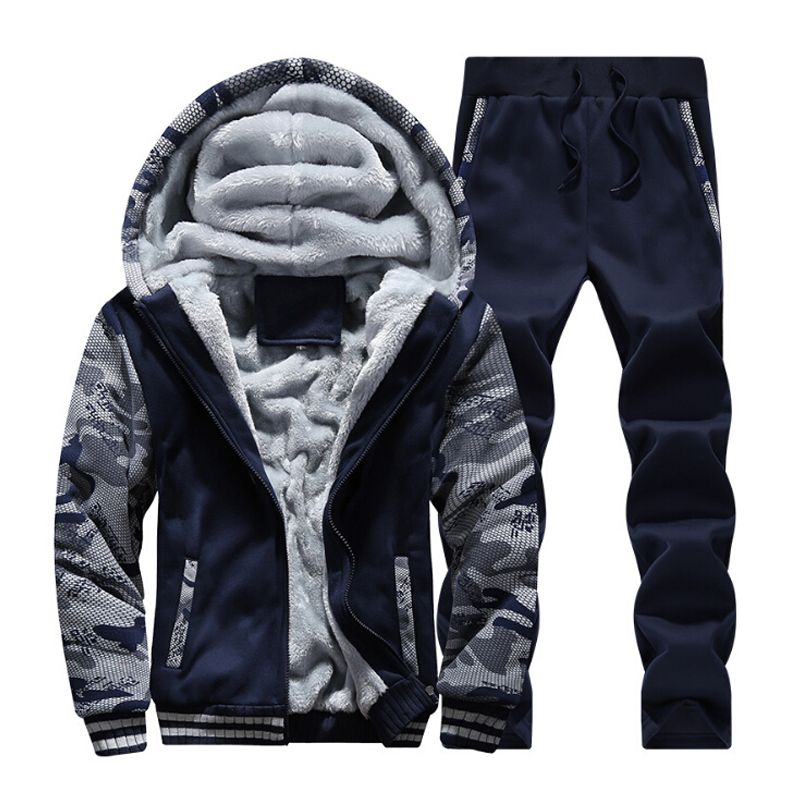 2017Hot selling Casual Wool Warm Winter Coat Suit Men's Hooded Jacket coat Brand Clothing Printed Jacket Sportswear Set Size 4XL