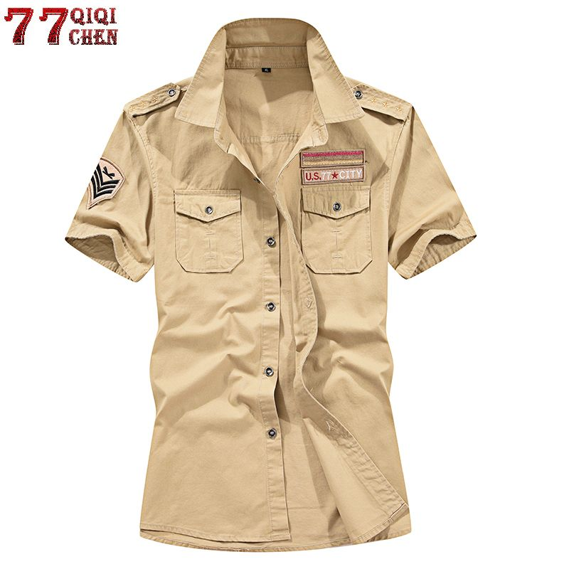 Brand New 100% Cotton Military Cargo Shirt Men Short Sleeve Plus Size 4XL 5XL Summer Army Tactical Men Shirt Chemise Homme