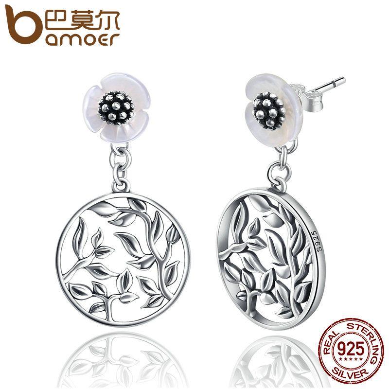 BAMOER 925 Sterling Silver 2 Wearing Style Stud Earrings Bud Flower Earrings for Women Brincos Fine Jewelry Bijoux SCE051