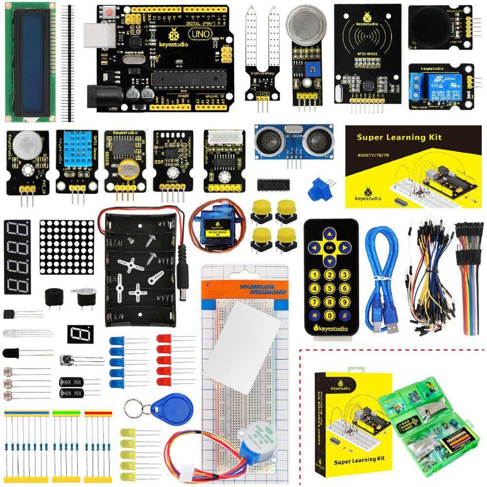 Keyestudio Super kit de démarrage/Kit d'apprentissage (UNO R3) pour les projets Arduino UNO R3 avec boîte-cadeau + 32 projets + manuel d'utilisation + PDF (en ligne)