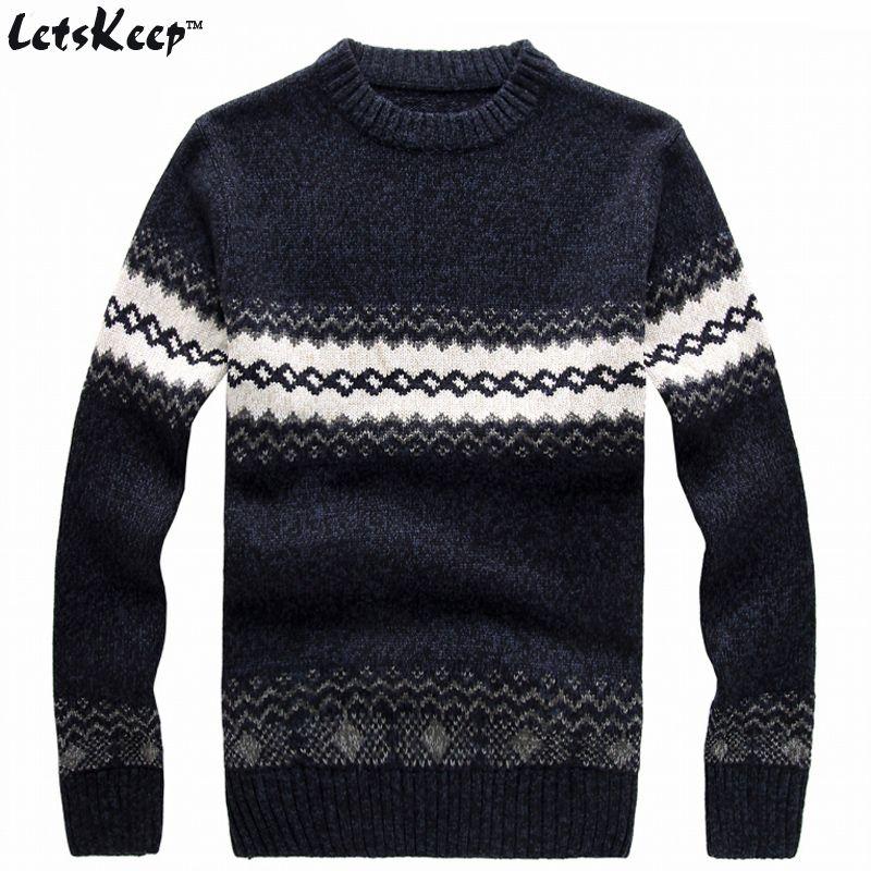 Nouveau LetsKeep 2018 hommes tricoté chandail modèles Rayé épais pull chandails d'hiver casual col rond pull en laine hommes, MA270