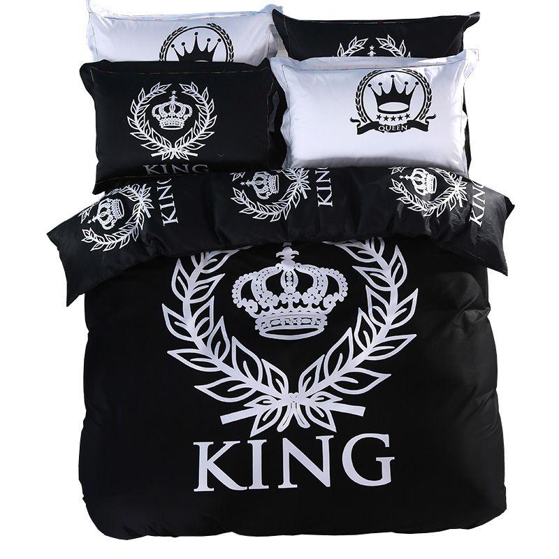 Svetanya Royal ensemble de Literie Impression Draps Double Unique Reine King Size 100% Coton Noir et Blanc Série