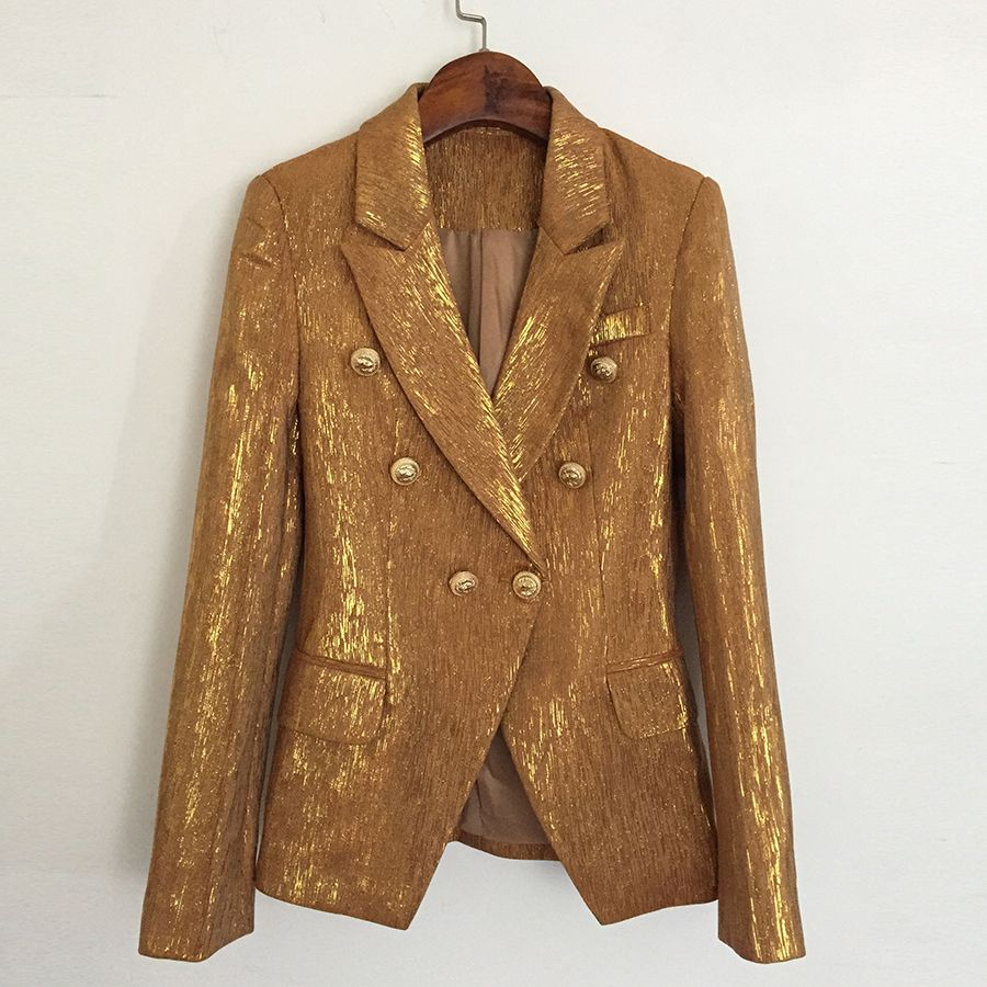 HIGH QUALITY New Fashion 2018 Designer Blazer Jacket Women's Lion Metal Buttons Double Breasted Blazer Outer Coat Gold