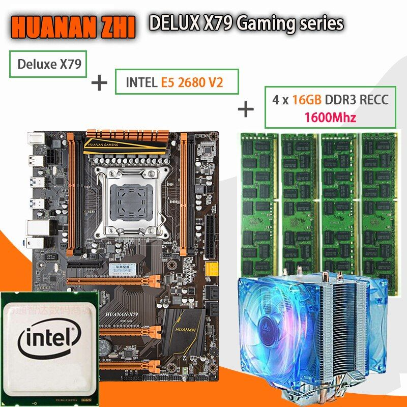 HUANAN ZHI Deluxe X79 gaming motherboard LGA 2011 ATX mit CPU E5 2680 V2 SR1A6 4x16G 1600 mhz 64 GB DDR3 RECC Speicher Kühler