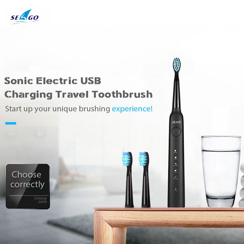 SEAGO SG-949 Sonic Electric Toothbrush with Smartimer 5 Brushing Modes 3 Brush Heads USB Charging Waterproof IPX7 Tooth Care