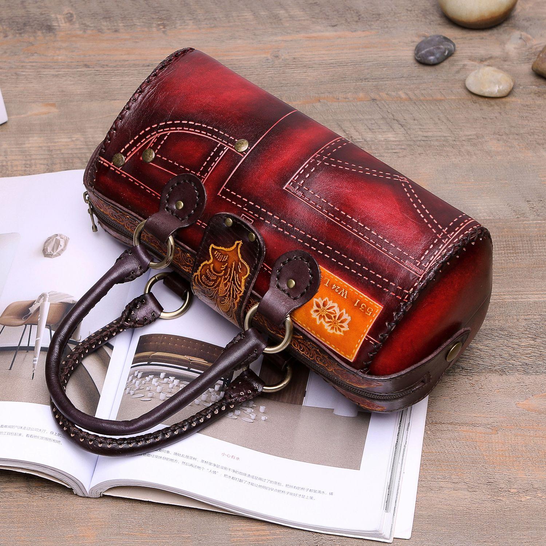 Retro women genuine leather bag hand-painted cowhide handbag high quality genuine leather tote bag
