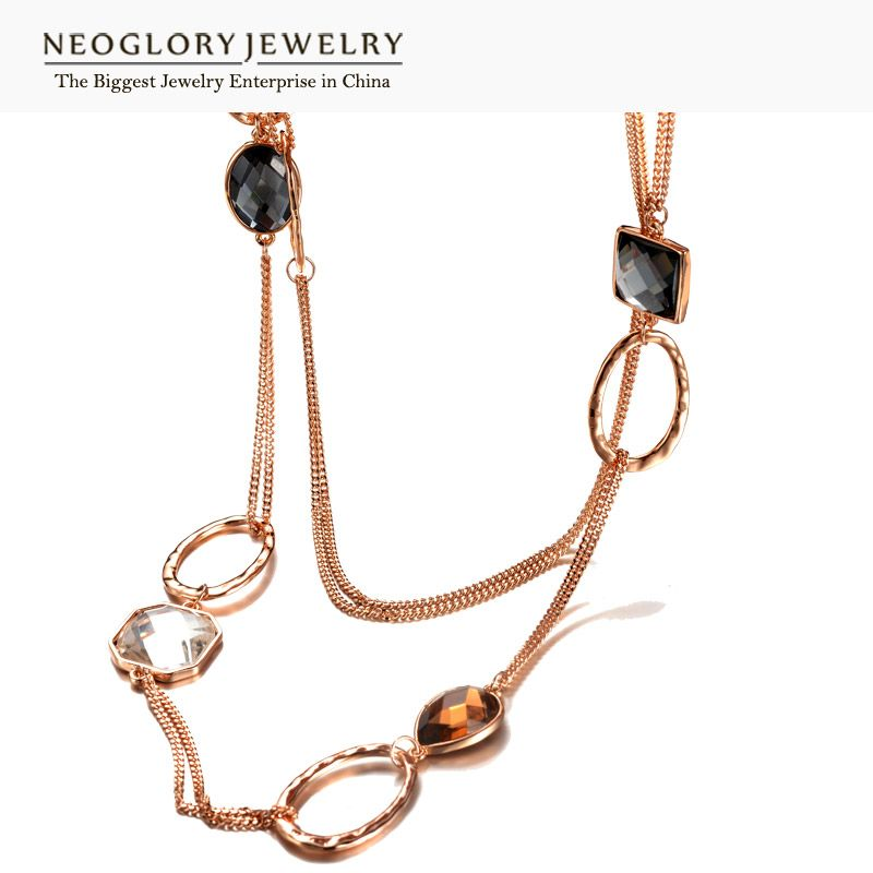 Neoglory Crystal Alloy Rose Gold Color Brand Long Necklace Statement Gifts For Women 2017 Fashion Trendy New WST