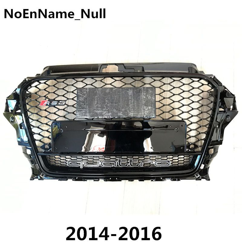 1PCS RS3 Style Black Honeycomb Mesh Front Bumper Grille For Audi A3 S3 2014-2016 Car Styling