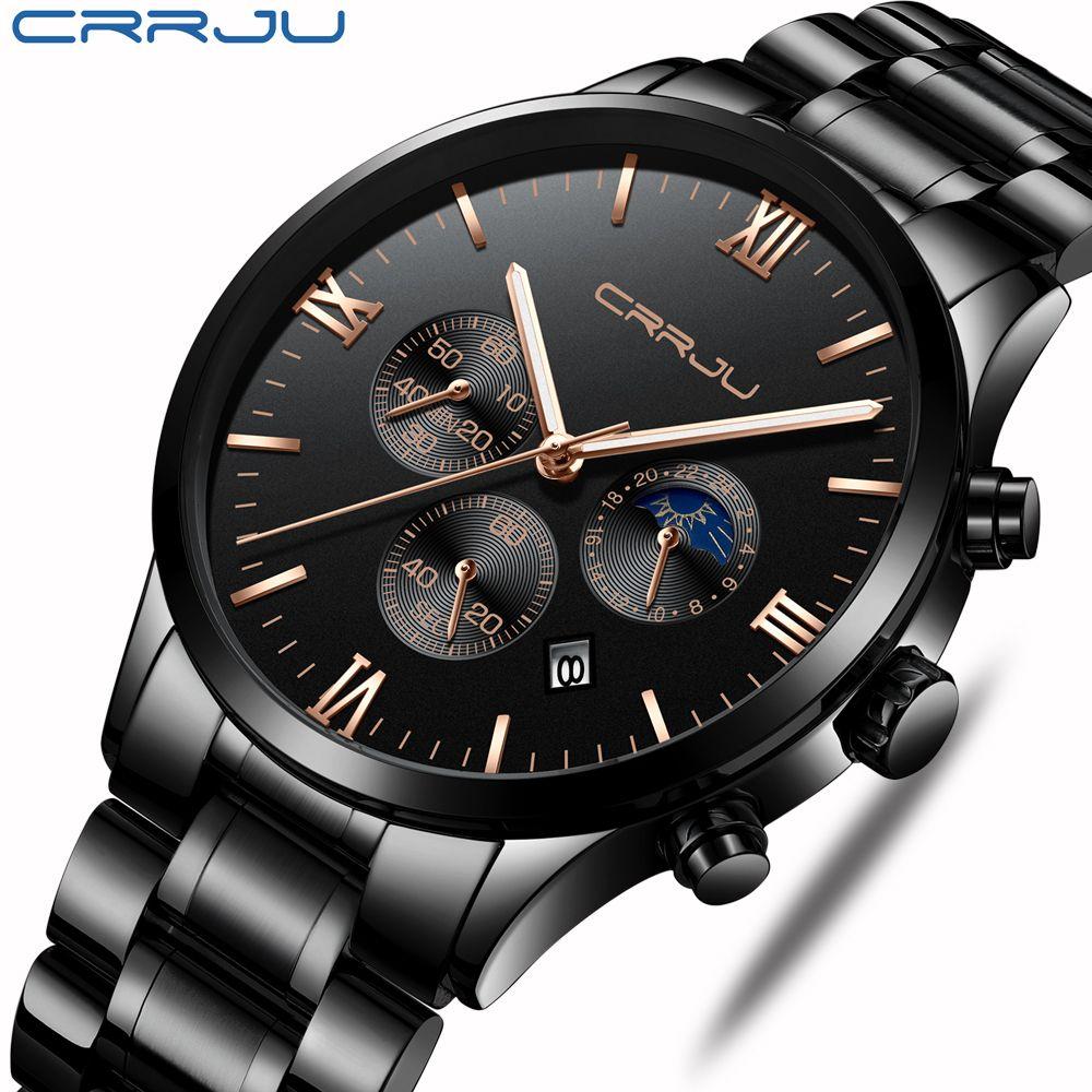 CRRJU Männer Edelstahl Quarzuhr Wasserdicht Timing Leucht Kalender Herren Uhren Top Marke luxus Uhr Relogio Masculino