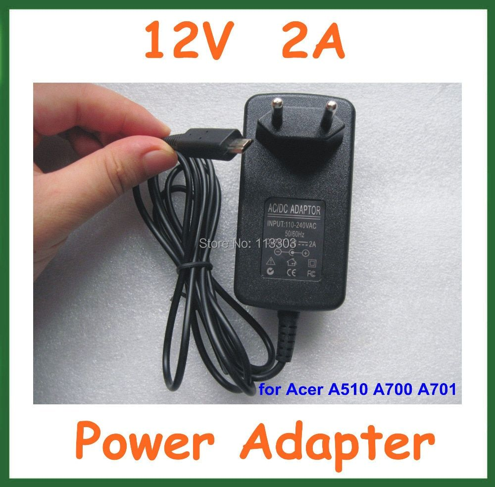 High Quality 12V 2A Charger EU US plug for Acer Iconia Tab A510 A700 A701 A511 Tablet PC 10.1 inch Power Supply Adapter