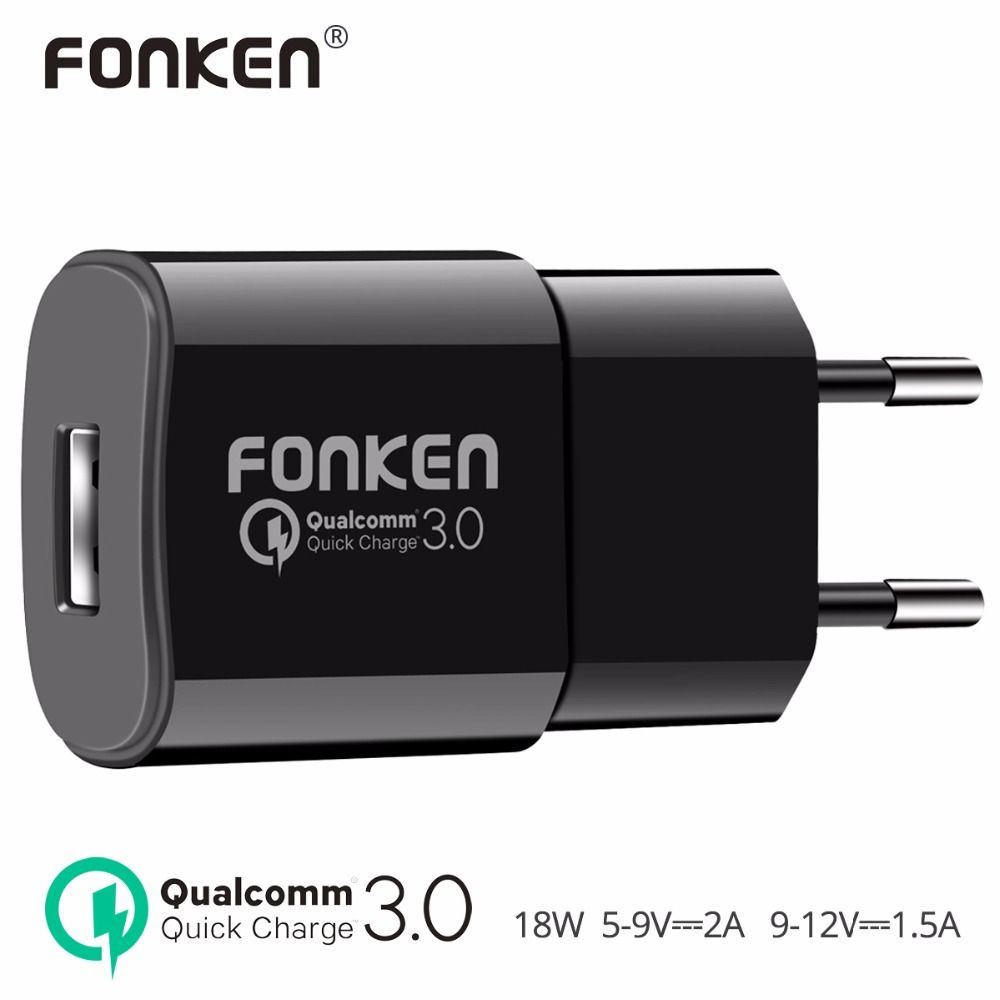 FONKEN USB Charger quick charge 3.0 Fast Charger QC3.0 QC2.0 Quick Charging Wall USB Adapter 18W for Power Bank Mobile Charger