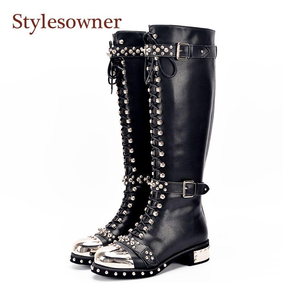 Stylesowner Genuine Leather Metal Round Toe Punk Style Women Knee High Boots Rivet Belt Buckle Motorcycle Boots Women Size 34-43