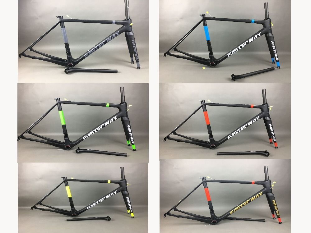 many colors can do FASTERWAY PRO neon yellow with white decal carbon road bike frameset:carbon Frame+Seatpost+Fork+Clamp+Headset