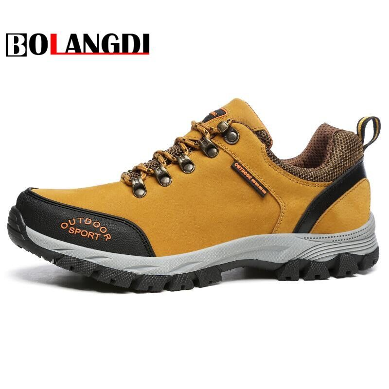 Bolangdi New Arrival Big Size waterproof Men's HIking Shoes Male Outdoor Antiskid Breathable Trekking Hunting Mountain Sneakers