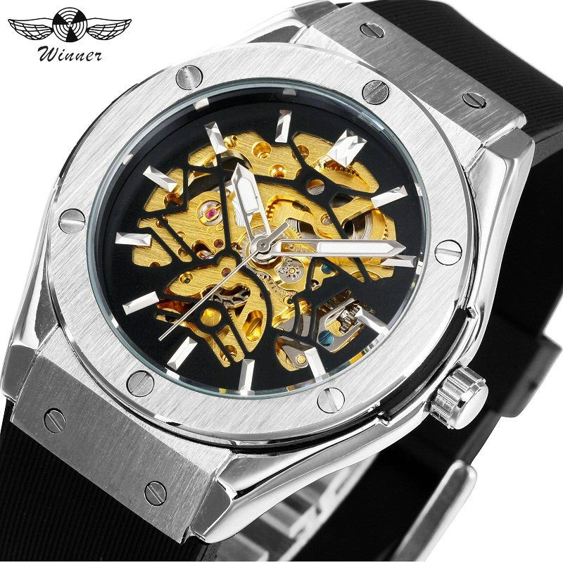 WINNER Men Military Watches 2018 Fashion Auto Mechanical Wristwatch Rubber Strap Skeleton Stainless-steel Case reloj hombre+ BOX