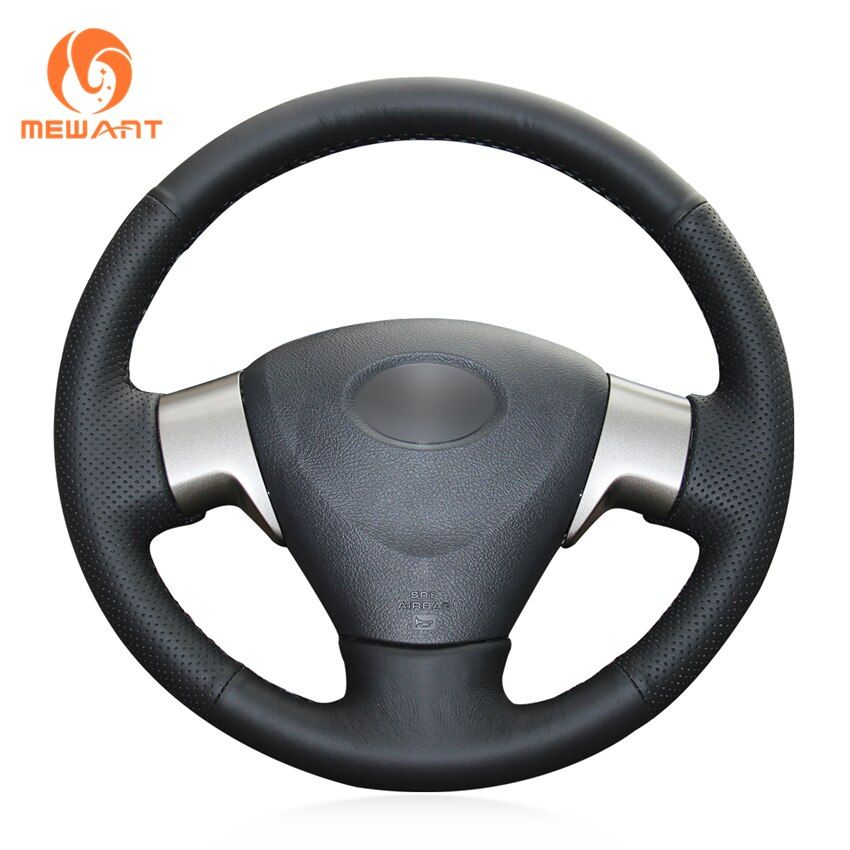 MEWANT Black Artificial Leather Car Steering Wheel Cover for Toyota Corolla 2009-2013 Matrix 2009-2010 Auris 2007-2009