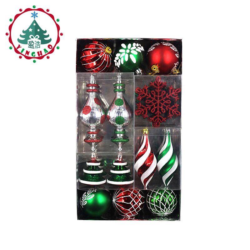 Inhoo 50 pcs/ensemble Décorations D'arbre De Noël Boules Flocon De Neige Feuille Suspendus De Noël Fête De Mariage Ornement De Noël Boules Décorations Mélange