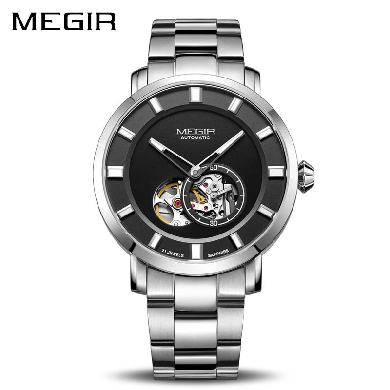 Luxury MEGIR Automatic Mechanical Watch Men Stainless Steel Business Wristwatches Clock Relogio Masculino Skeleton Men Watches
