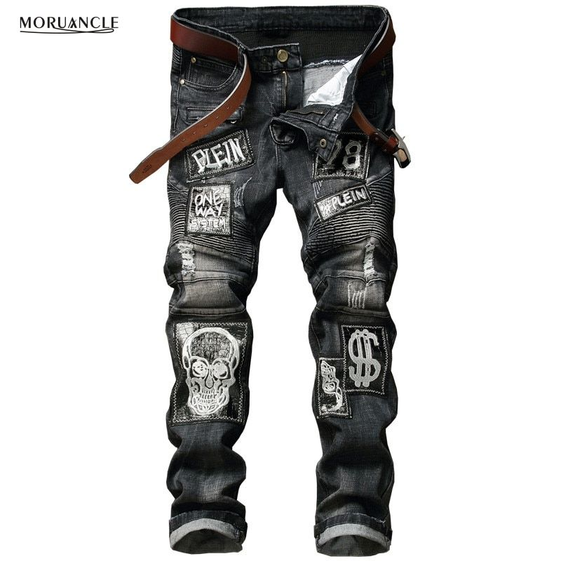 Hi-Street Mens Distressed Biker Jeans Skull Patchwork Fashion Pleated Ripped Denim Joggers Black Slim Fit Trousers With Patches