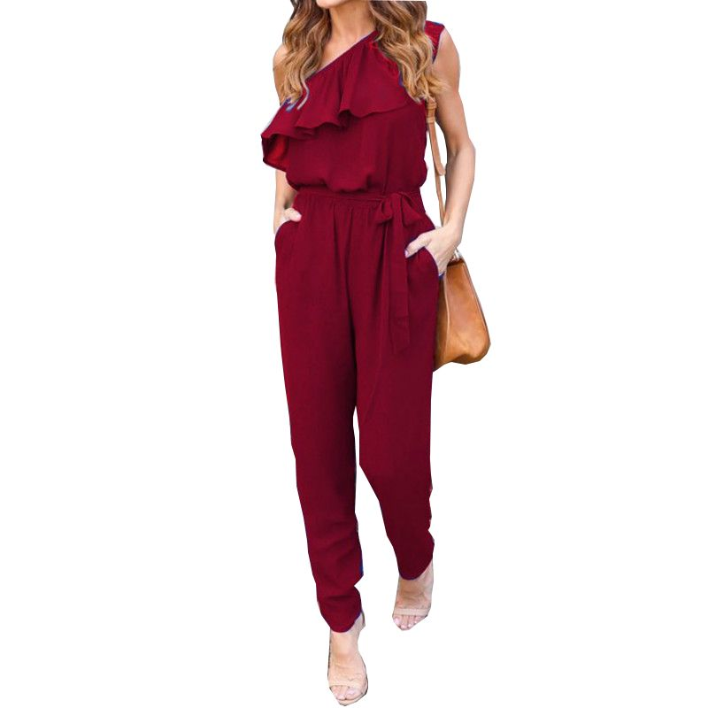 Ruffles Chiffon Jumpsuits <font><b>Plus</b></font> Size Overalls Summer Women Sexy Casual One Shoulder Long Playsuits Rompers Womens Jumpsuit GV608
