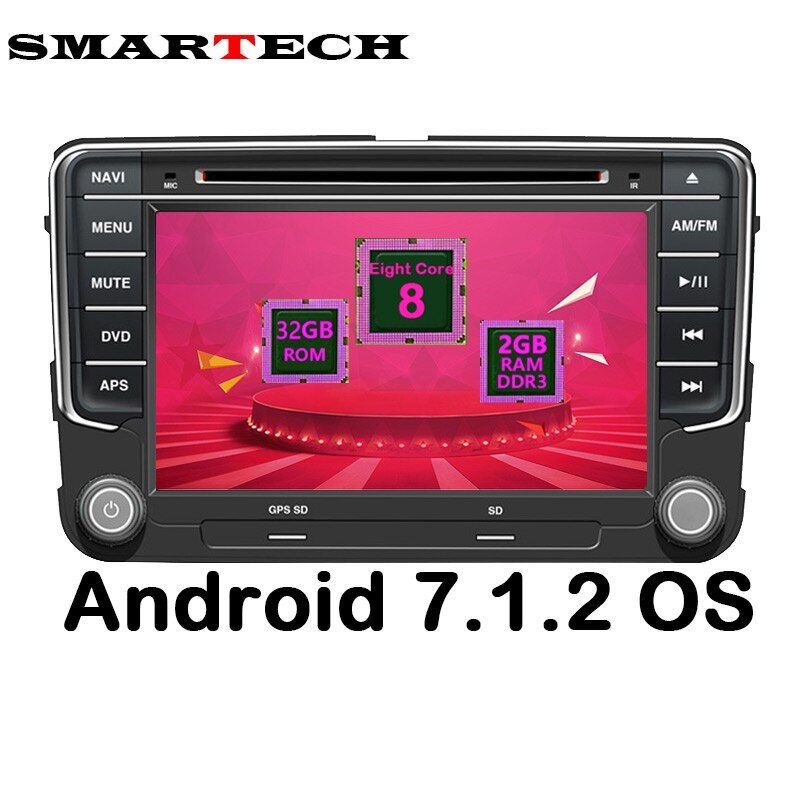 SMARTECH Octa Core 2Din VW Android 7.1.2 Car Car Multimedia Player GPS Stereo Radio DVD for Volkswagen Passat POLO GOLF Skoda