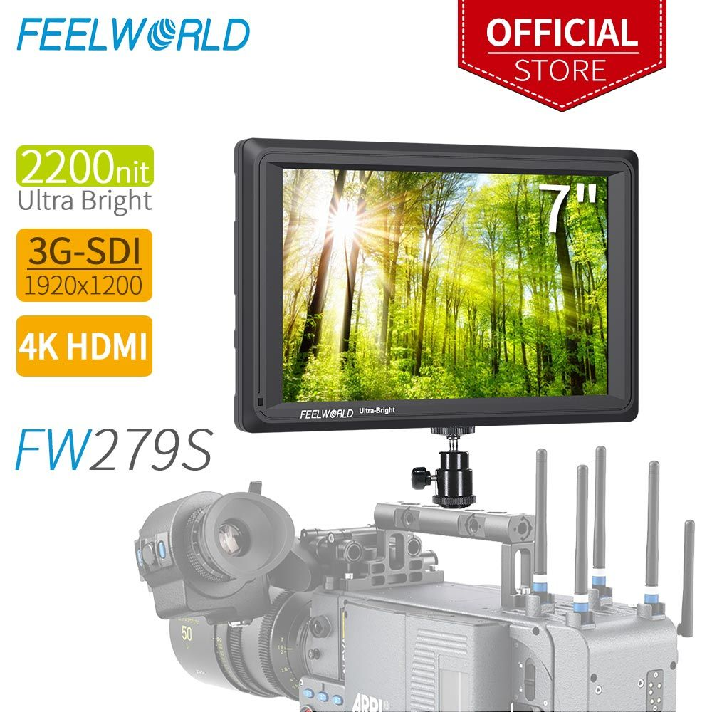 FEELWORLD FW279S 7 Inch 2200nit Daylight Viewable 3G-SDI Mini HDMI Monitor Camera Field Monitor 4K HDMI 1920X1200 DSLR Camrea