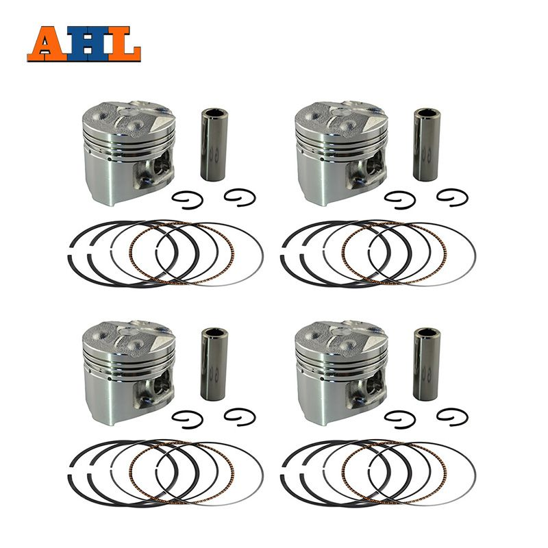 AHL 4 Sets +50 Bore 48.5 mm Piston & Piston Ring Kit for YAMAHA FZ250 FZR250 1HX Piston and Rings and Clips