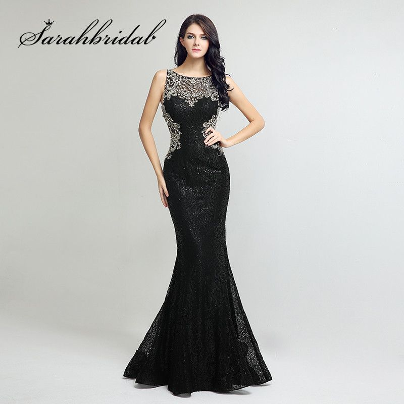 Sexy Black Lace Evening Gowns 2017 Long Mermaid Beaded Crystals Sheer Back Real Photos Floor Length Prom Formal Dresses LX171