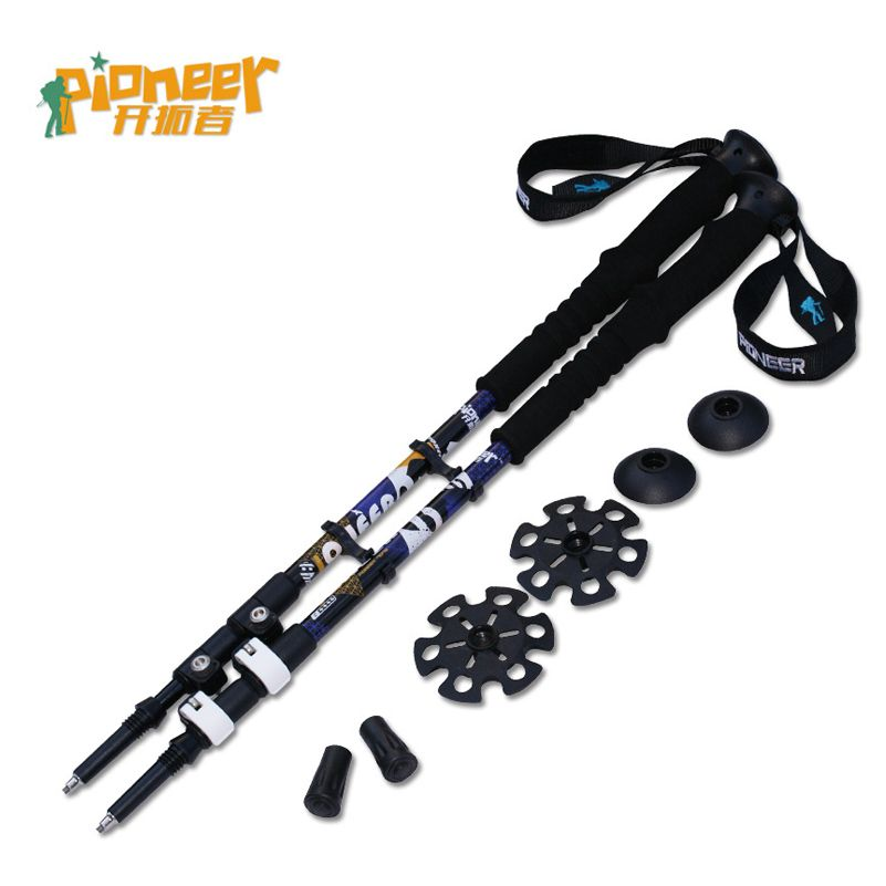 Nordic Walking Stick trek 7075 Trekking Poles Outdoor 65-135cm Telescopic 3 Handle Climbing Aluminum Hiking Stick 2pcs/lot cane