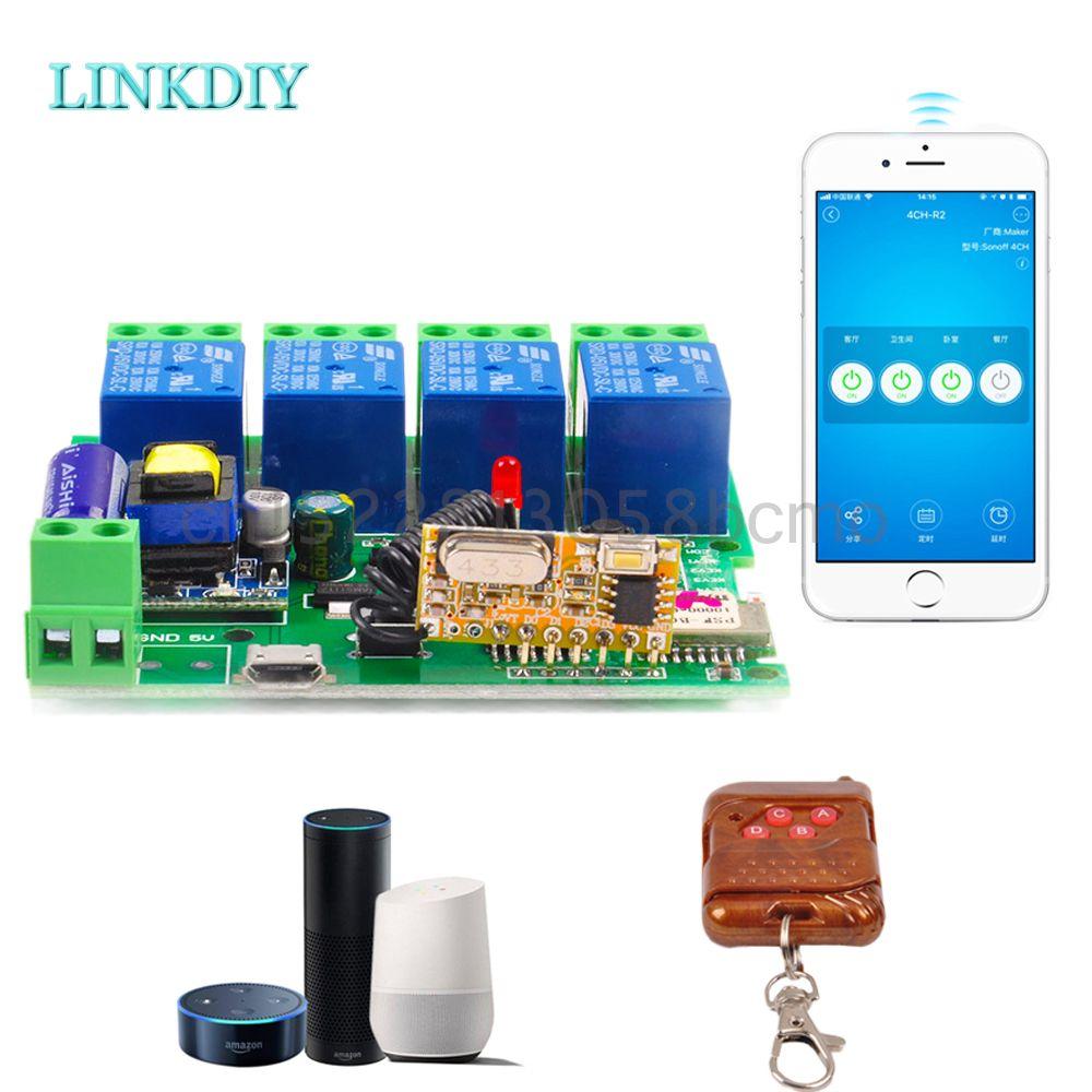 Smart télécommande bricolage commutateur sans fil à distance Module universel 4ch DC 5 V 12 V 32 V 220 V Wifi interrupteur minuterie pour la maison intelligente