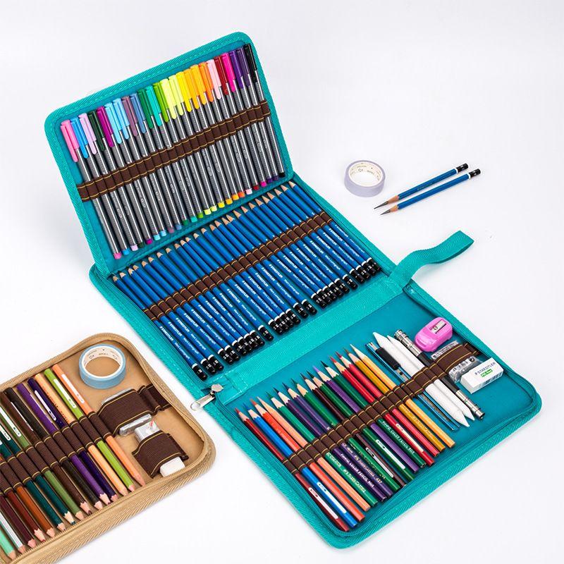 36/48/72 Holes Folding School Pencil Case Canvas Pencilcase Bag Profession Pen Box Penal for Boys Girls Art Marker Storage Pouch