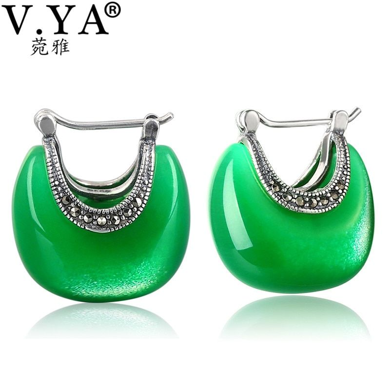 V.YA 925 Sterling Silver Moon Shape Drop earrings Elegant Green Opal Stone earrings Vintage Women earrings Female Fine Jewelry