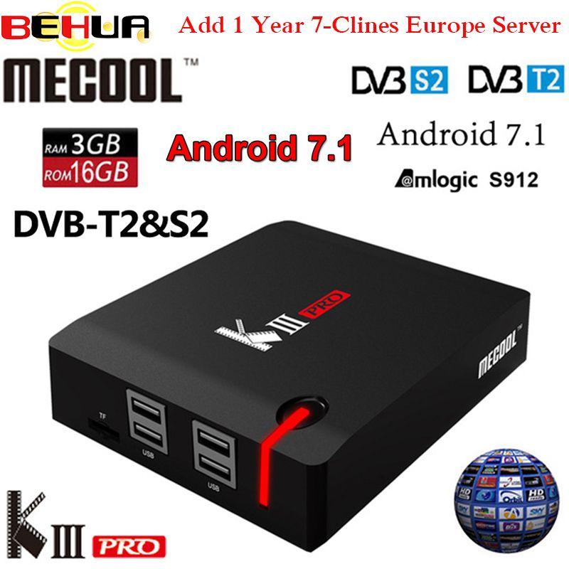 3GB+16GB Mecool DVB-T2 DVB-S2 KIII PRO DVB Android 7.1 TV Box with 1 year Europe 7 clines free Arabic US Africa European server